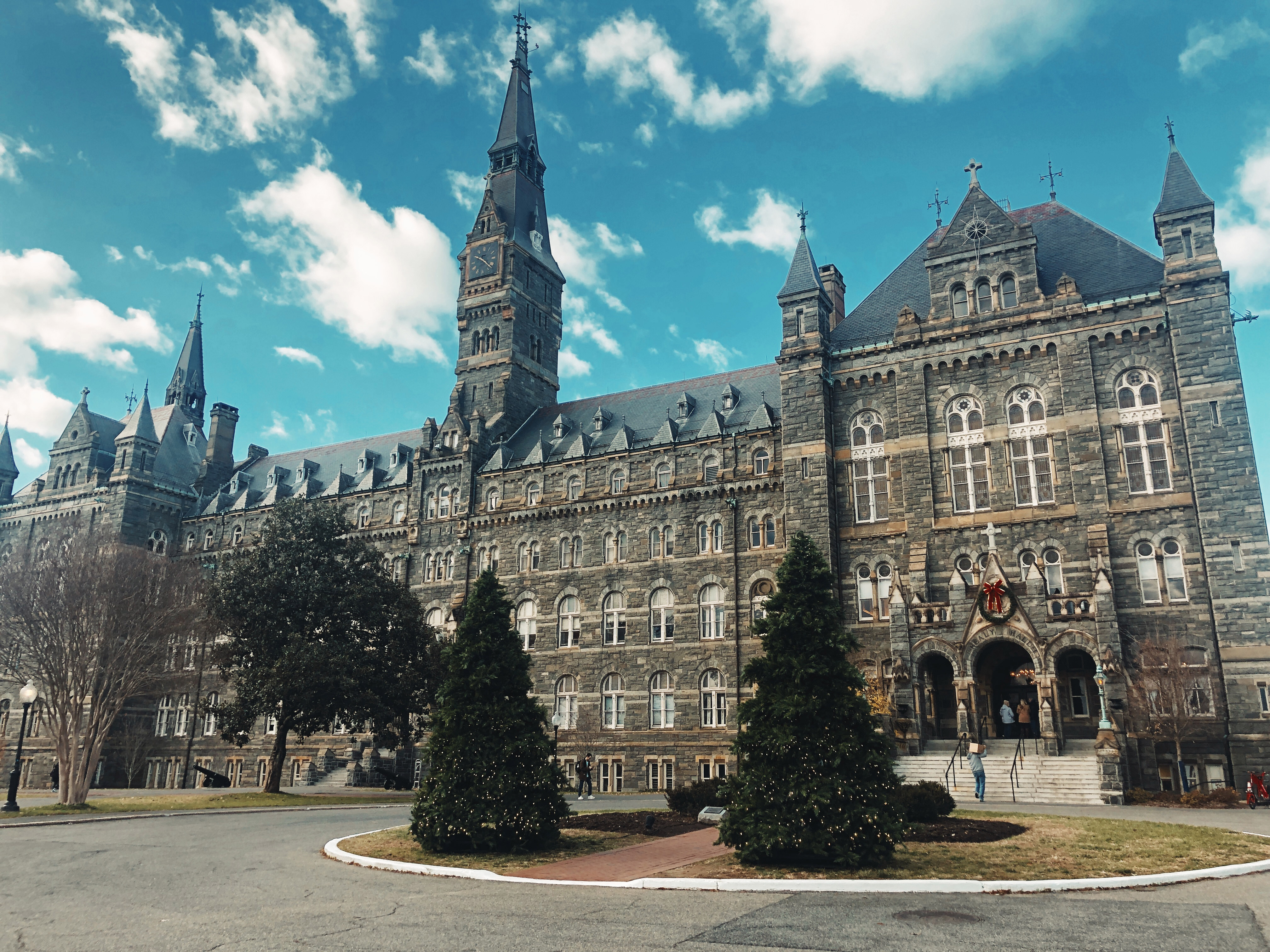 A panoramic view of Healy Hall with Christmas decorations